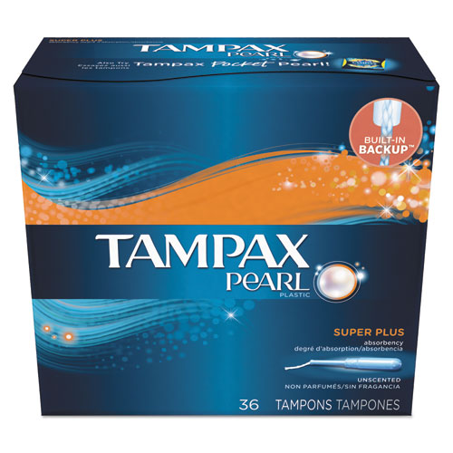 Tampax® Pearl Tampons, Regular, 36/Box, 12 Box/Carton