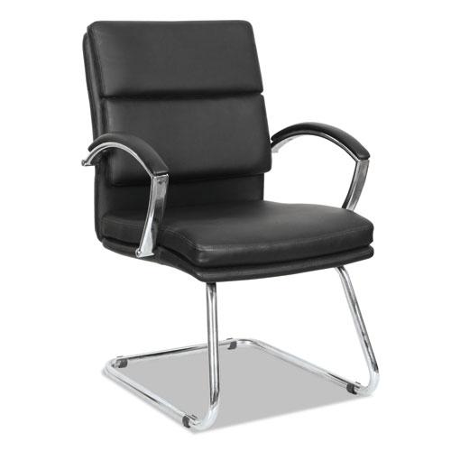 Alera Neratoli Series Slim Profile Guest Chair, Black Soft Leather ...