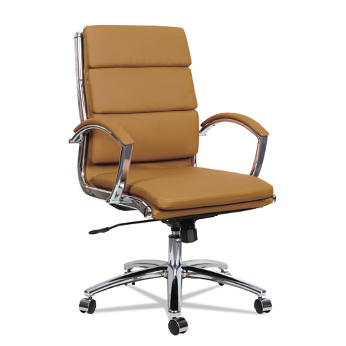 Alera® Alera Neratoli Mid-Back Slim Profile Chair, Supports up to 275 lbs., Camel Seat/Camel Back, Chrome Base