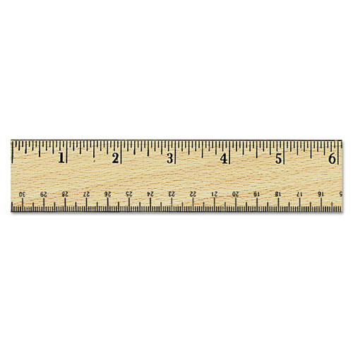 Flat Wood Ruler w/Double Metal Edge, 12, Clear Lacquer Finish