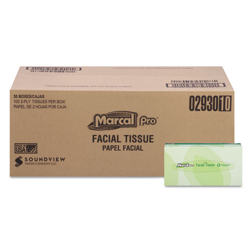 Marcal PRO™ 100% Recycled Convenience Pack Facial Tissue, White, 100/Box, 30 Boxes/Carton