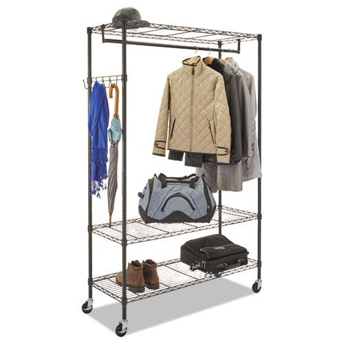 Wire Shelving Garment Rack, 40 Garments, 48w x 18d x 75h, Black