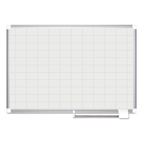 Grid Planning Board, 48 x 36, 2 x 3 Grid, White/Silver | by Plexsupply