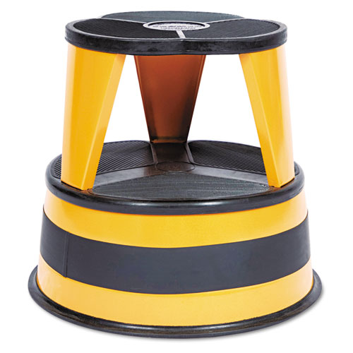 "Kik-Step Steel Step Stool, 2-Step, 350 lb Capacity, 16"" dia. x 14.25h, Orange 