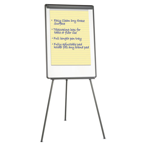 Tripod-Style Dry Erase Easel, Easel : 44 to 78, Board: 29 x 41, White/Black