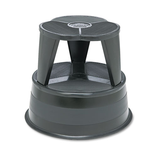 Kik-Step Steel Step Stool, 2-Step, 350 lb Capacity, 16 dia. x 14.25h, Black