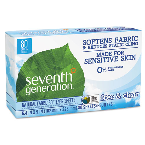 Seventh Generation® Natural Fabric Softener Sheets, Free & Clear, 80/Box, 12 Box/Carton
