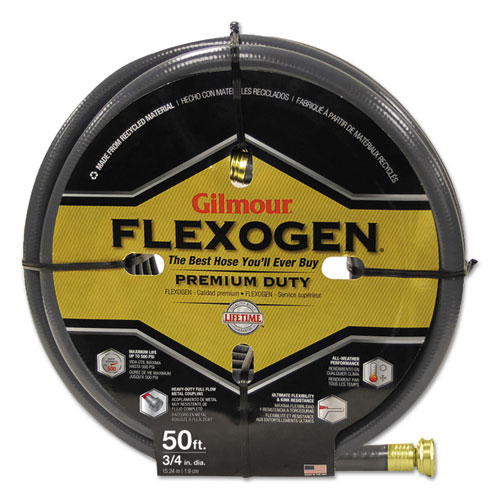 Gilmour® Eight-Ply Flexogen 10 Series Garden Hose, 3/4in x 50ft, Gray