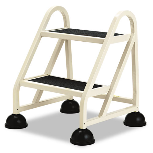 Stop-Step Ladder, 23 Working Height, 300 lbs Capacity, 2 Step, Beige