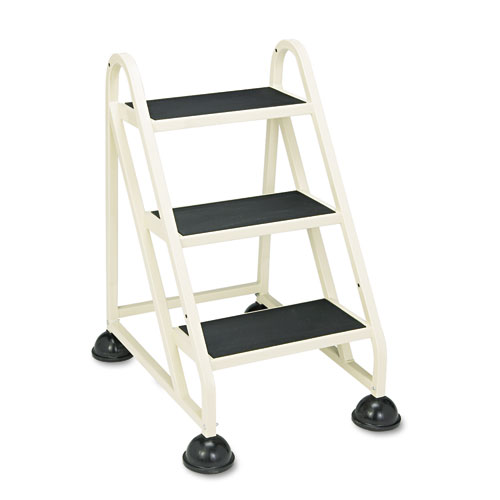 Stop-Step Ladder, 32.75 Working Height, 300 lbs Capacity, 3 Step, Beige