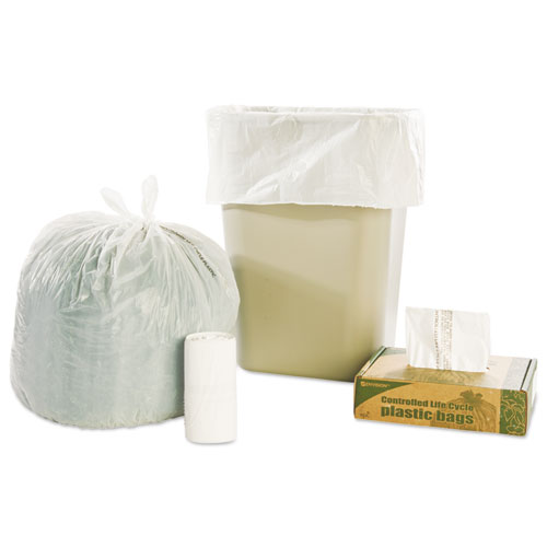 "Stout® by Envision™ Controlled Life-Cycle Plastic Trash Bags, 13 gal, 0.7 mil, 24"" x 30"", White, 120/Box"