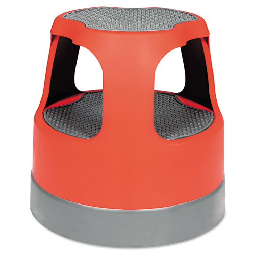 Scooter Stool, Round, 2-Step, 15, Step and Lock Wheels, 300 lb Capacity, Red