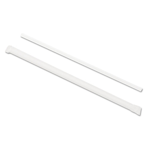 "Wrapped Jumbo Straws, 7 3/4"", Translucent, 24/Carton"