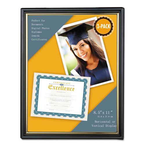 All Purpose Document Frame, 8 1/2 x 11 Insert, Black/Gold, 3/Pack