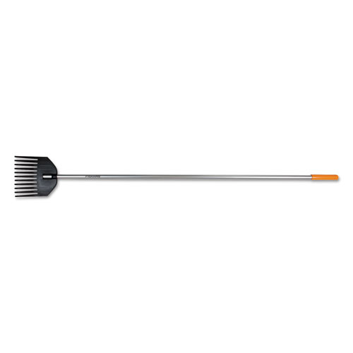 "Shrub Rake, 8"" Head, 66"" Handle, Plastic/Aluminum, Black/Orange/Silver"