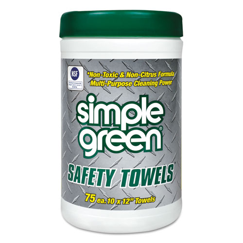 Safety Towels, 10 x 11 3/4, 75/Canister, 6 per Carton | by Plexsupply