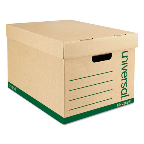 Recycled Heavy-Duty Record Storage Box, Letter/Legal Files, Kraft/Green, 12/Carton