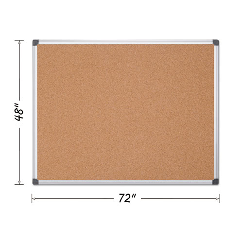 Value Cork Bulletin Board with Aluminum Frame, 48 x 72, Natural | by Plexsupply
