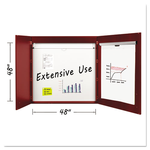 Conference Cabinet, Porcelain Magnetic, Dry Erase, 48 x 48, Cherry