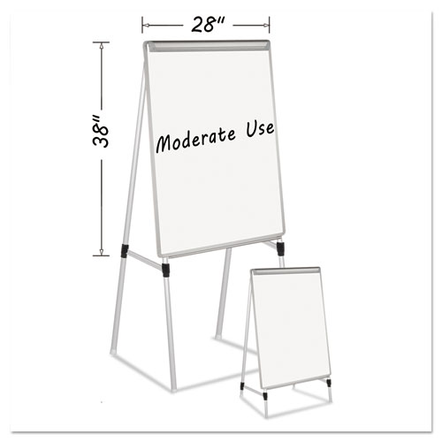 Silver Easy Clean Dry Erase Quad-Pod Presentation Easel, 45 to 79, Silver