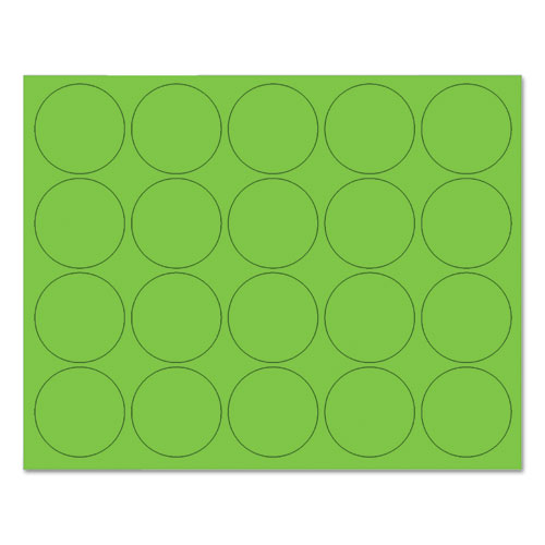 Interchangeable Magnetic Board Accessories, Circles, Green, 3/4, 20/Pack