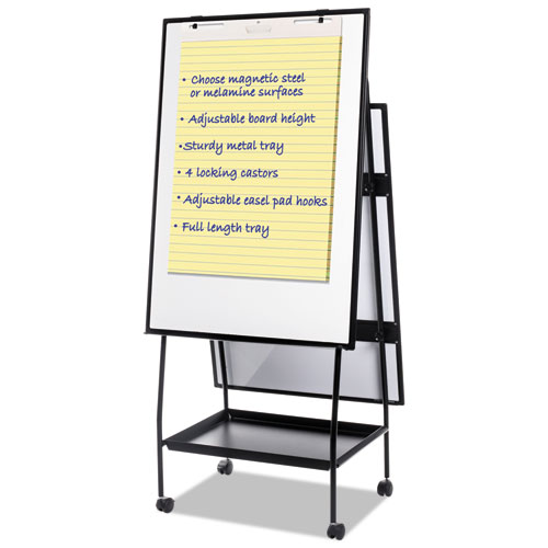 Creation Station Magnetic Dry Erase Board, 29 1/2 x 74 7/8, Black Frame   by Plexsupply