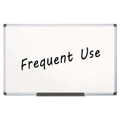 Value Lacquered Steel Magnetic Dry Erase Board, 48 x 96, White, Aluminum Frame | by Plexsupply