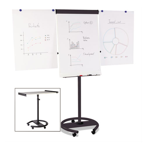 360 Multi-Use Mobile Magnetic Dry Erase Easel, 27 x 41, Black Frame | by Plexsupply