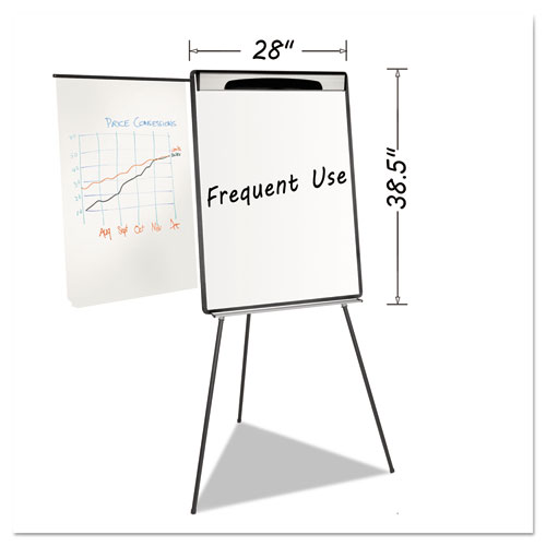 Magnetic Gold Ultra Dry Erase Tripod Easel W/ Ext Arms, 32 to 72, Black/Silver