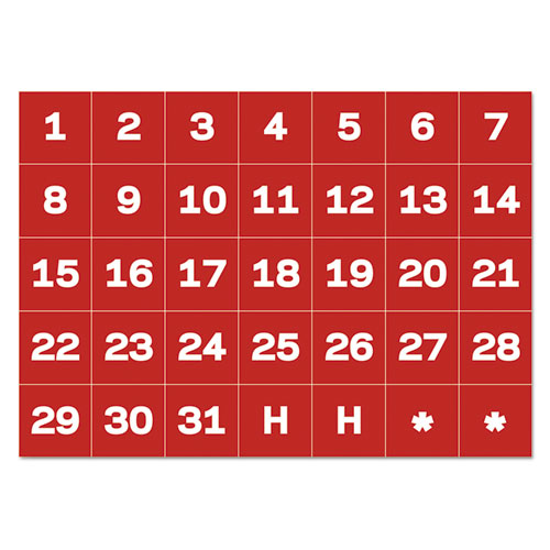 Interchangeable Magnetic Board Accessories, Calendar Dates, Red/White, 1 x 1