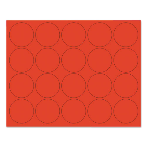 Interchangeable Magnetic Board Accessories, Circles, Red, 3/4, 20/Pack