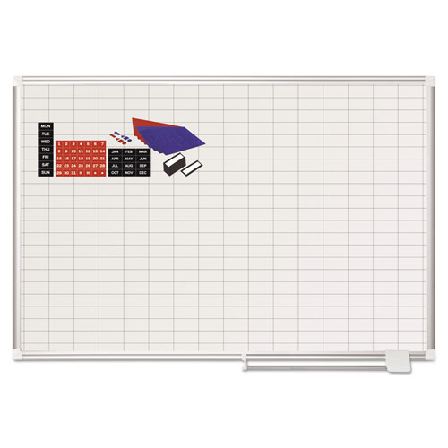 Grid Planning Board w/ Accessories, 1 x 2 Grid, 48 x 36, White/Silver | by Plexsupply