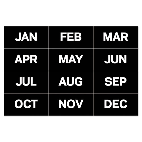 Interchangeable Magnetic Board Accessories, Months of Year, Black/White, 2 x 1