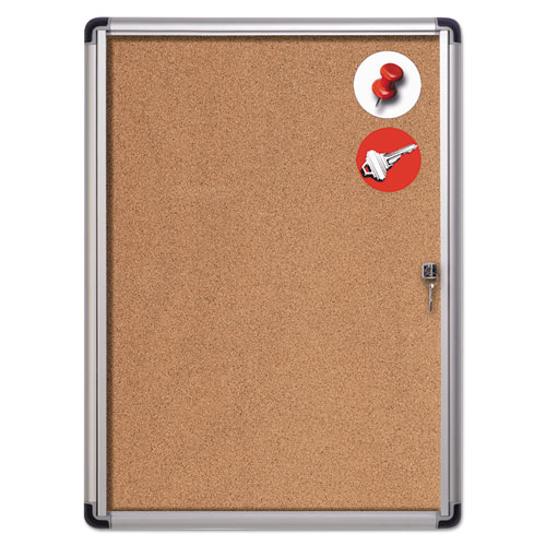 Slim-Line Enclosed Cork Bulletin Board, 28 x 38, Aluminum Case | by Plexsupply