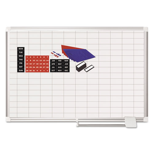Grid Planning Board w/ Accessories, 1 x 2 Grid, 36 x 24, White/Silver | by Plexsupply