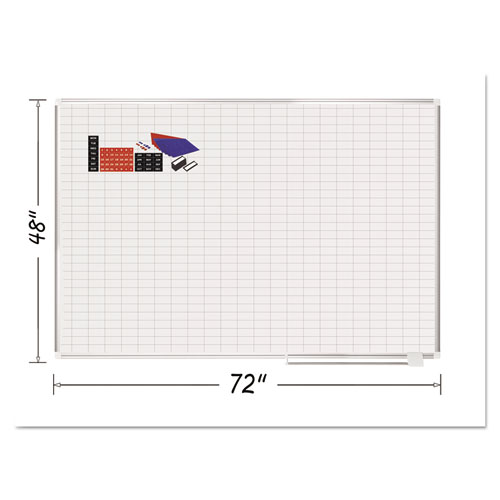 Grid Planning Board w/ Accessories, 1 x 2 Grid, 72 x 48, White/Silver | by Plexsupply