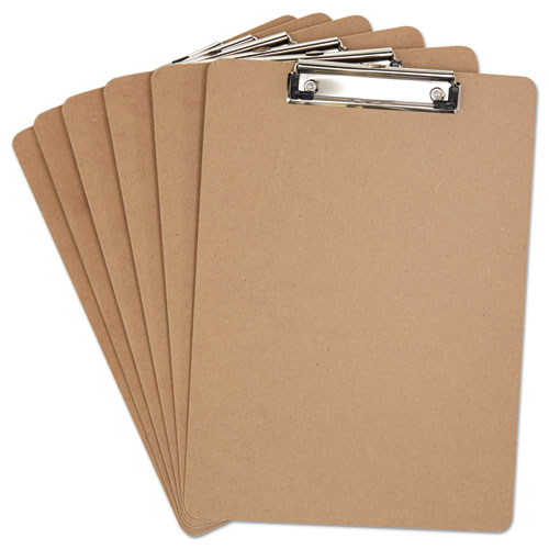 Hardboard Clipboard, 1/2 Capacity, Holds 8 1/2w x 12h, Brown, 6/Pack