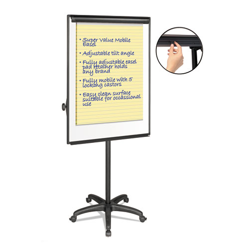 "Silver Easy Clean Dry Erase Mobile Presentation Easel, 44"" to 75-1/4"" High 