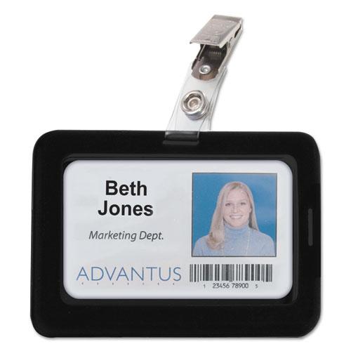 Advantus Rubberized Badge Holder, 2 1/2 x 3 3/4, Horizontal/Vertical, Black, 5/PK