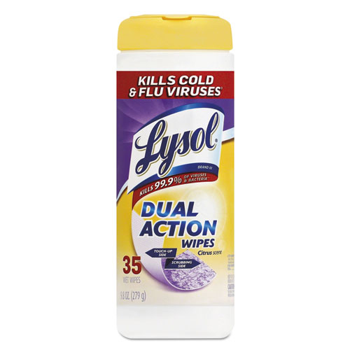 LYSOL® Brand Disinfecting Wipes, Dual Action, Citrus, 7 x 8, 35/Canister