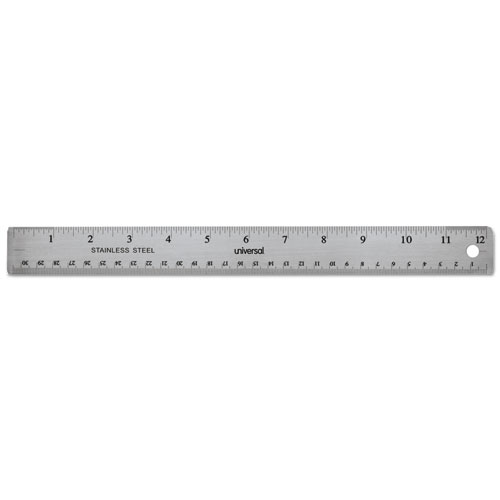Stainless Steel Ruler w/Cork Back and Hanging Hole, 12, Silver