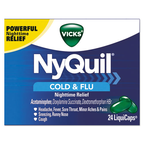 NyQuil Cold  Flu Nighttime LiquiCaps, 24/Box