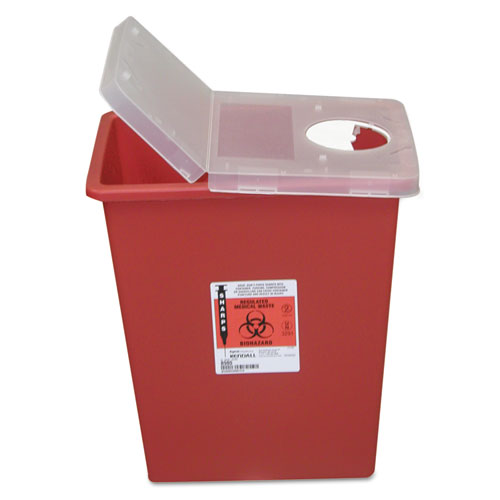 Sharps Containers, Polypropylene, 8 gal, 15 1/2 x 11 x 17 3/4, Red