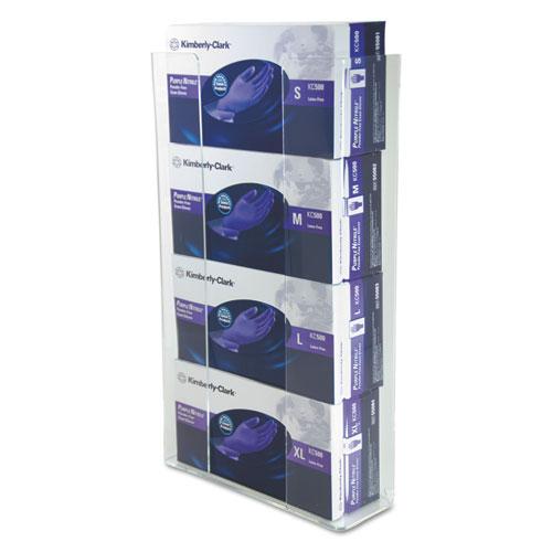 Wall-Mount Glove Box Holder, 4-Box, Acrylic, Clear, 11 x 3 1/2 x 19 1/4