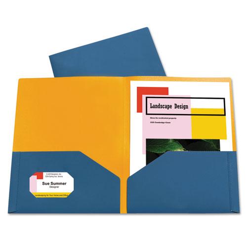 Two Tone Pocket Super Heavyweight Poly Portfolio Letter Blue Orange