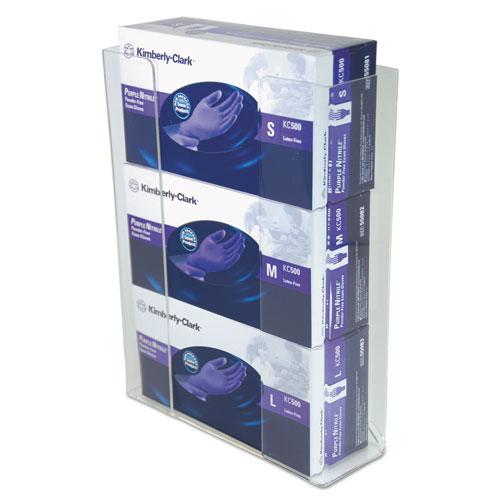 Wall-Mount Glove Box Holder, 3-Box, Acrylic, Clear, 11 x 3 1/2 x 14 1/2