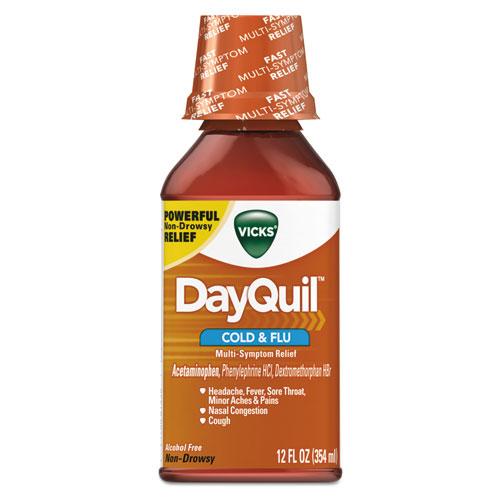 DayQuil Cold  Flu Liquid, 12 oz Bottle, 12/Carton