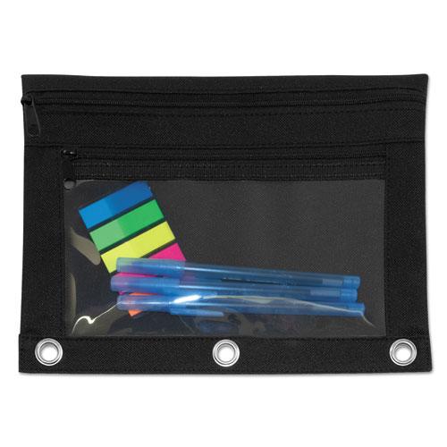 Advantus Binder Pouch with PVC Pocket, 9 1/2 x 7, Black, 6/Pack