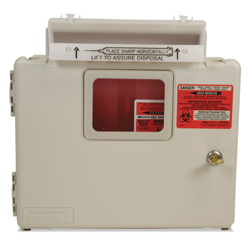 Locking Wall Mount Sharps Cabinet System, 5 qt, Beige