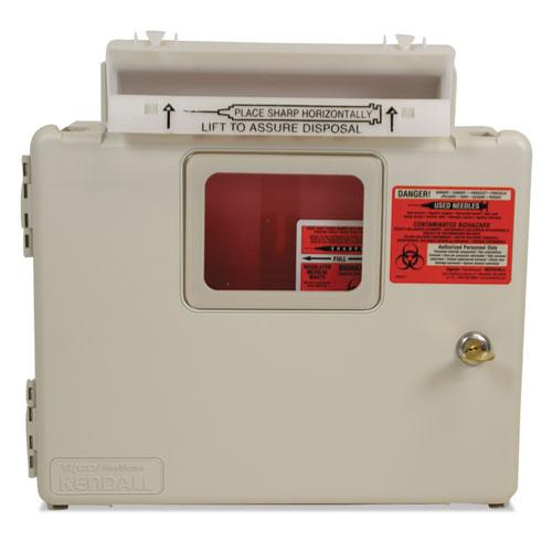 Locking Wall Mount Sharps Cabinet System, 5 qt, Beige